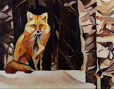 Painting - Fox Sitting In Birch Trees by Cameron Dixon