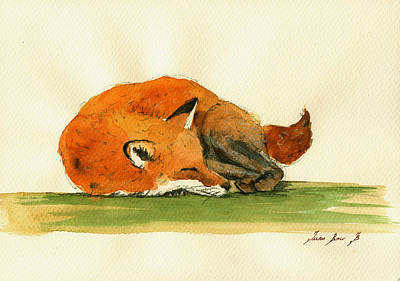 Decals Painting - Fox Sleeping Painting by Juan  Bosco