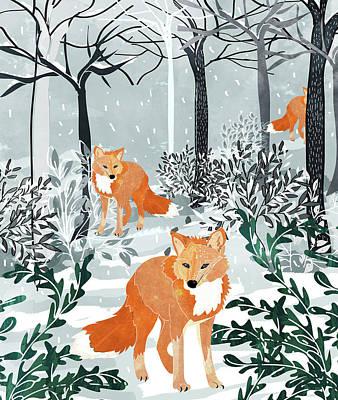 Digital Art - Fox Snow Walk by Uma Gokhale