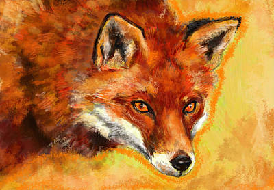 Red Fox Mixed Media - Fox Spirit - Kitsune by Lakota Phillips