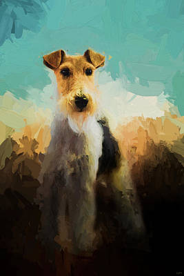 Painting - Fox Terrier On Alert by Jai Johnson