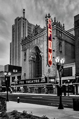 Photograph - Fox Theater St Louis Mo Bnw Red Neon_dsc0113_16 by Greg Kluempers