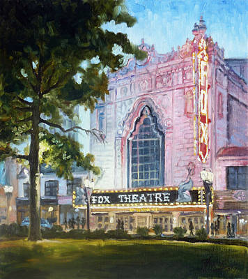 Evening Lights Painting - Fox Theatre Lights St.louis by Irek Szelag