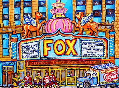 Fox Theatre Michigan Winter City Scene Painting Detroit Red Wings Usa Hockey Art Carole Spandau      Original