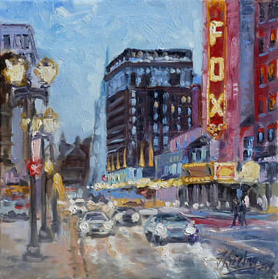 Painting - Fox Theatre On Grand Boulevard St.louis by Irek Szelag