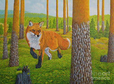 Nature Oil Painting - Fox by Veikko Suikkanen