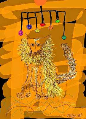 Digital Art - Fox With A Yellow Boa Under Neon Lights by Kathy Barney