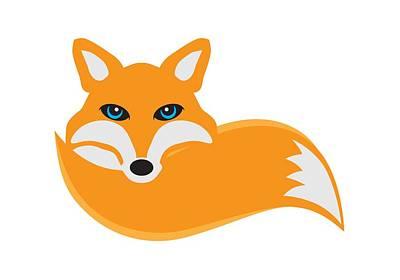 Vulpes Digital Art - Fox With Tail Illustration by Jit Lim