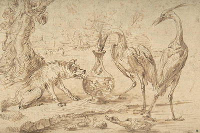 Herons Drawing - Fox With Two Herons by Frans Snyders