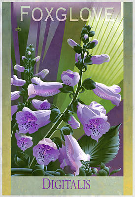 Glazier Painting - Foxglove Digitalis Poster by Garth Glazier