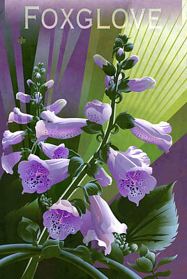 Glazier Painting - Foxglove Digitalis Print by Garth Glazier