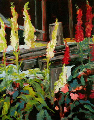 Split Rail Fence Painting - Foxgloves by Carla Stein