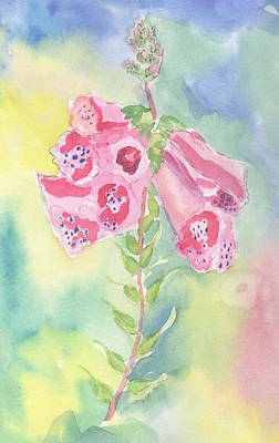 Marcy Painting - Foxgloves by Marcy Brennan