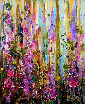 Moet Wall Art - Painting - Foxgloves Panel One by Angie Wright