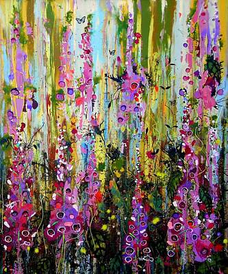 Moet Wall Art - Painting - Foxgloves Panel Two by Angie Wright