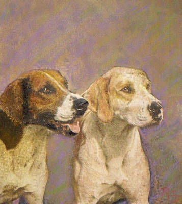 Painting - Foxhound Pals by Richard James Digance
