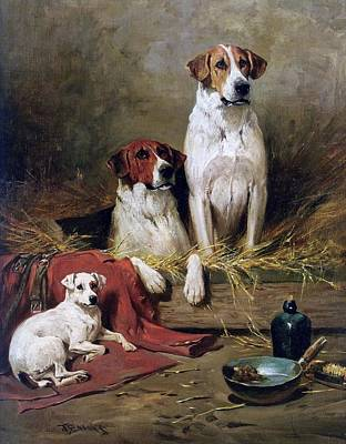 Painting - Foxhounds And A Terrier by Celestial Images