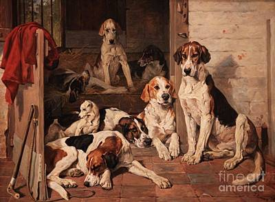 Foxhounds And Terrier In A Stable Interior  Print by MotionAge Designs