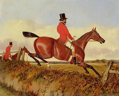 Foxhunting - Clearing A Bank Print by John Dalby