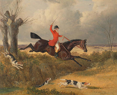 Clearing Painting - Foxhunting Clearing A Ditch by John Frederick Herring