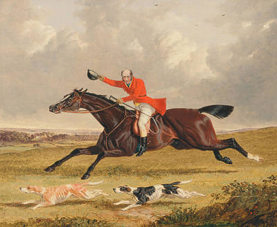 Painting - Foxhunting - Encouraging Hounds by Treasury Classics Art