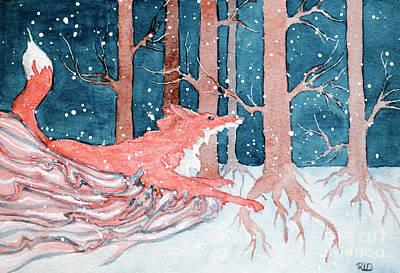 Painting - Fox's Midnight Run by Rebecca Davis