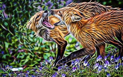 Red Fox Mixed Media - Foxtrot by Marvin Blaine