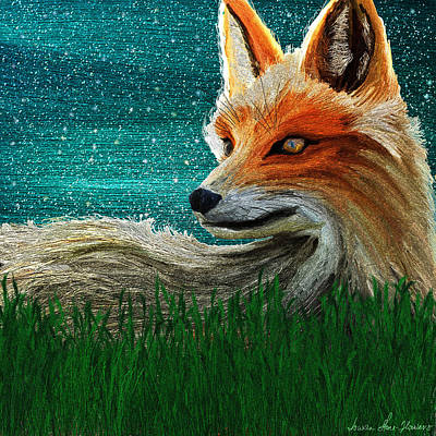 Digital Art - Foxxy by Iowan Stone-Flowers
