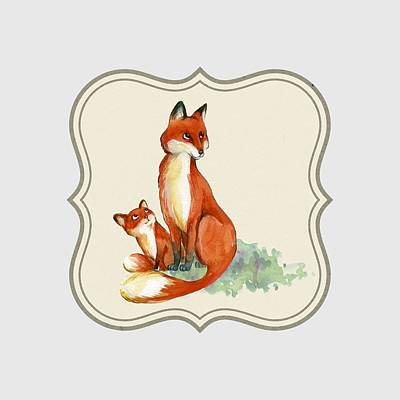 Drawing - Foxy Babe And Mom by Joy of Life Art Gallery