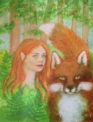 Mixed Media - Foxy Faery by Bernadette Wulf