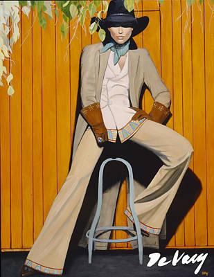 Beautiful Western Cowgirl Painting - Foxy Lady by David DeVary