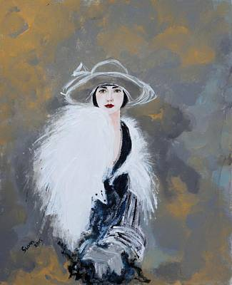 Contemporary Black Art Painting - Foxy Lady by Susan Adams