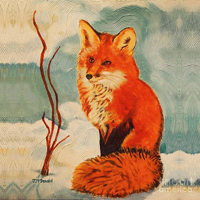 Painting - Foxy Presence Throw Pillow by Janet McDonald