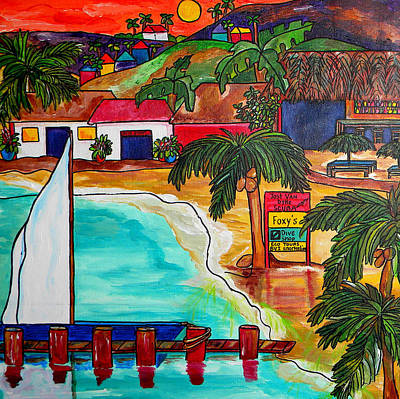 Caribbean Painting - Foxy's At Jost Van Dyke by Patti Schermerhorn