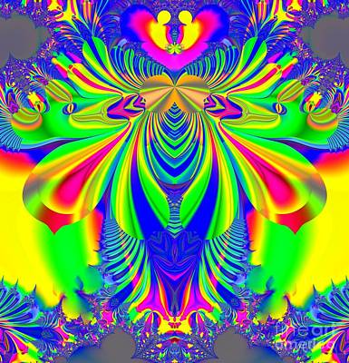 Digital Art - Fractal 31 Psychedelic Love Explosion by Rose Santuci-Sofranko
