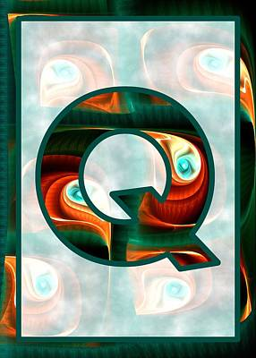 Digital Art - Fractal - Alphabet - Q Is For Quizzical by Anastasiya Malakhova