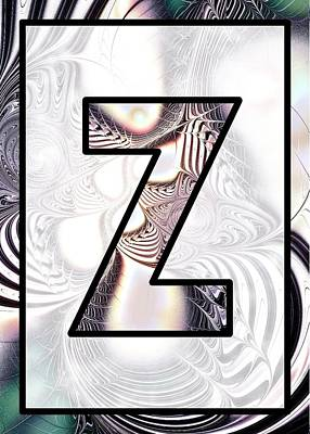 Digital Art - Fractal - Alphabet - Z Is For Zebra Colors by Anastasiya Malakhova