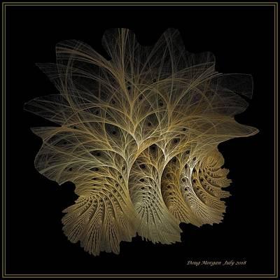 Digital Art - Fractal Berry Trees Gilded Tile by Doug Morgan