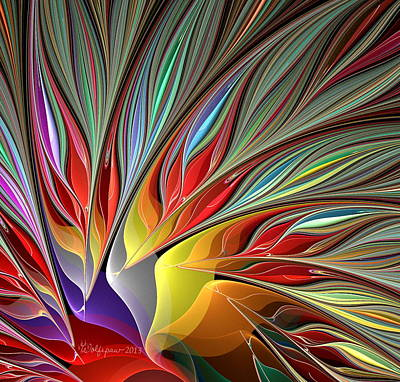 Abstract Digital Digital Art - Fractal Bird Of Paradise Redux 2 by Peggi Wolfe
