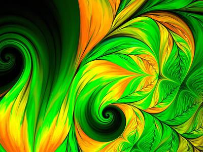 Abstract Digital Art - Fractal Feather Green Yellow by Oksana Ariskina
