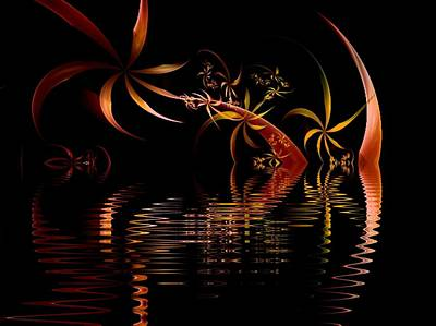 Digital Art - Fractal Fireworks Reflections by Nancy Pauling