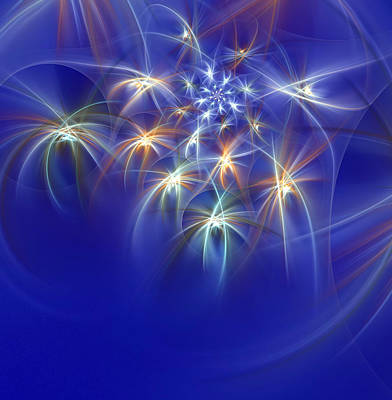 Digital Art - Fractal Fireworks by Richard Ortolano