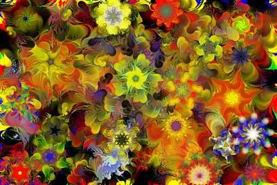 Fractal Floral Study 10-27-09 Art Print by David Lane