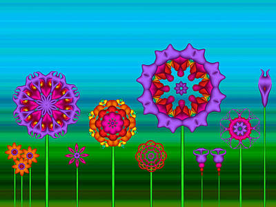 Whimsical Fractal Flower Garden Art Print
