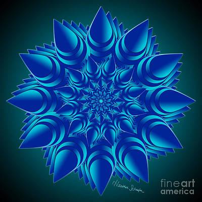 Digital Art - Fractal Flower In Blue by Heather Schaefer