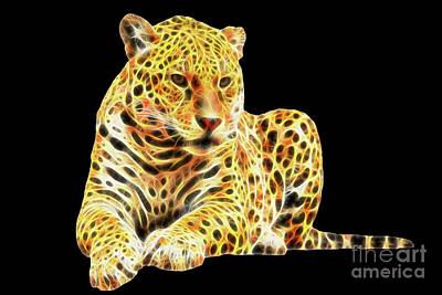 Digital Art - Fractal Jaguar by Tracey Everington