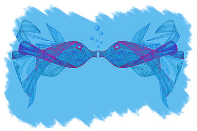 Digital Art - Fractal Kissing Fish by Carol and Mike Werner