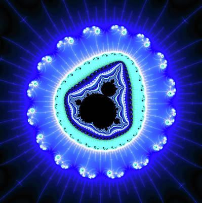Digital Art - Fractal Mandelbrot Set Blue Aqua Black by Matthias Hauser