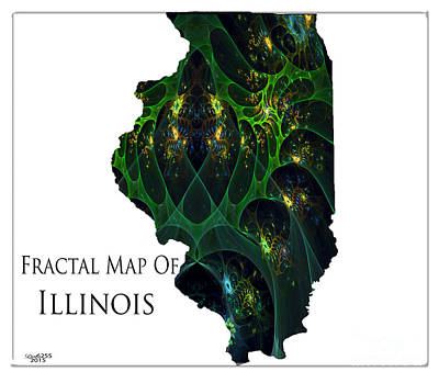 Digital Art - Fractal Map Of Illinois by Melissa Messick