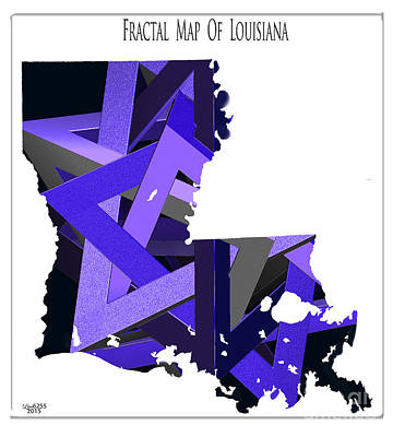 Digital Art - Fractal  Map Of Louisiana by Melissa Messick